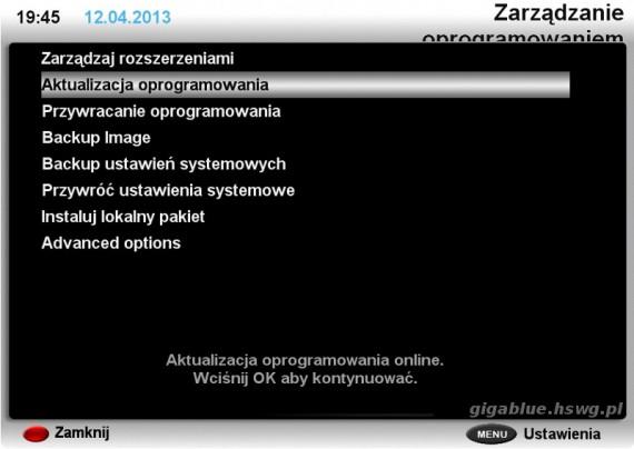 Menu zarządzanie oprogramowaniem